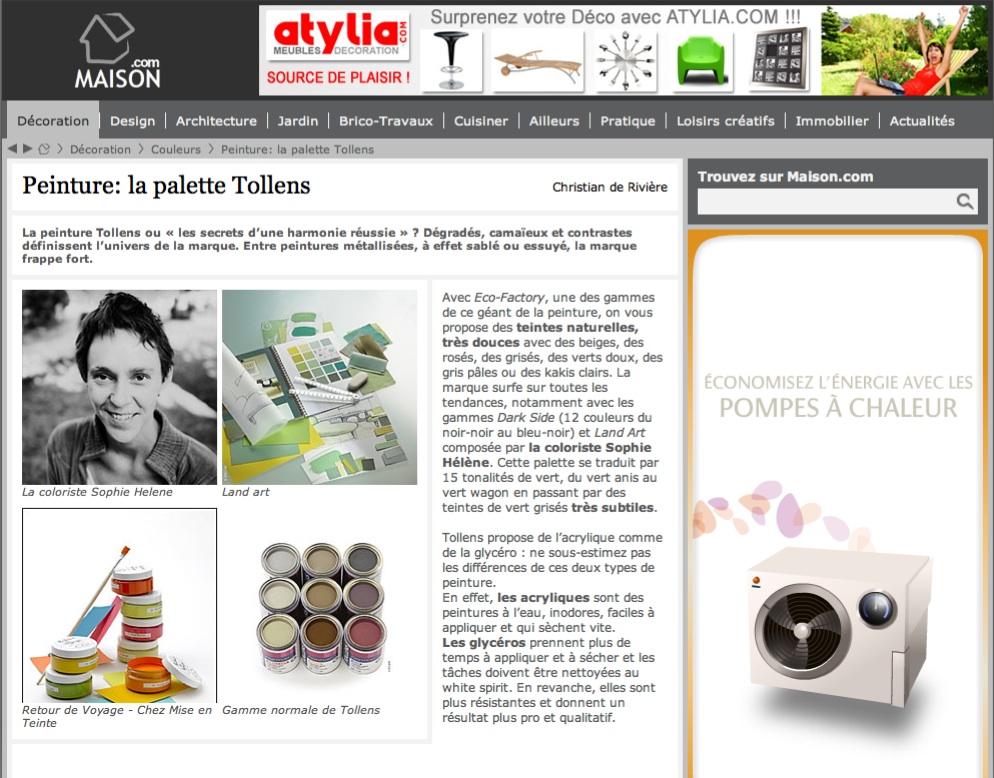 Site internet Maison.com 2010 - La palette Tollens