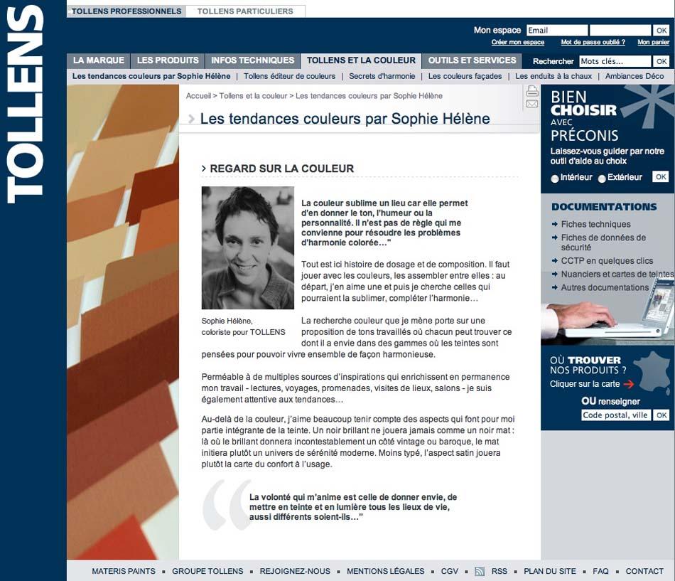 Site internet Tollens professionnel, 2012
