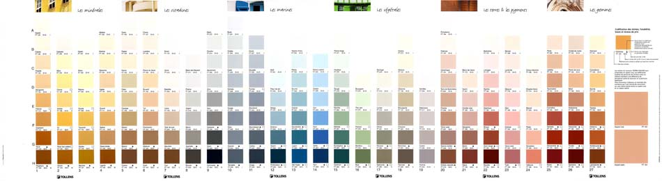 carte de teintes des peintures façades, Tollens PRO