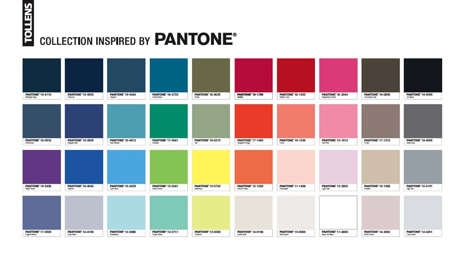 40 couleurs de la collection inspired by Pantone, Tollens département Grand Public