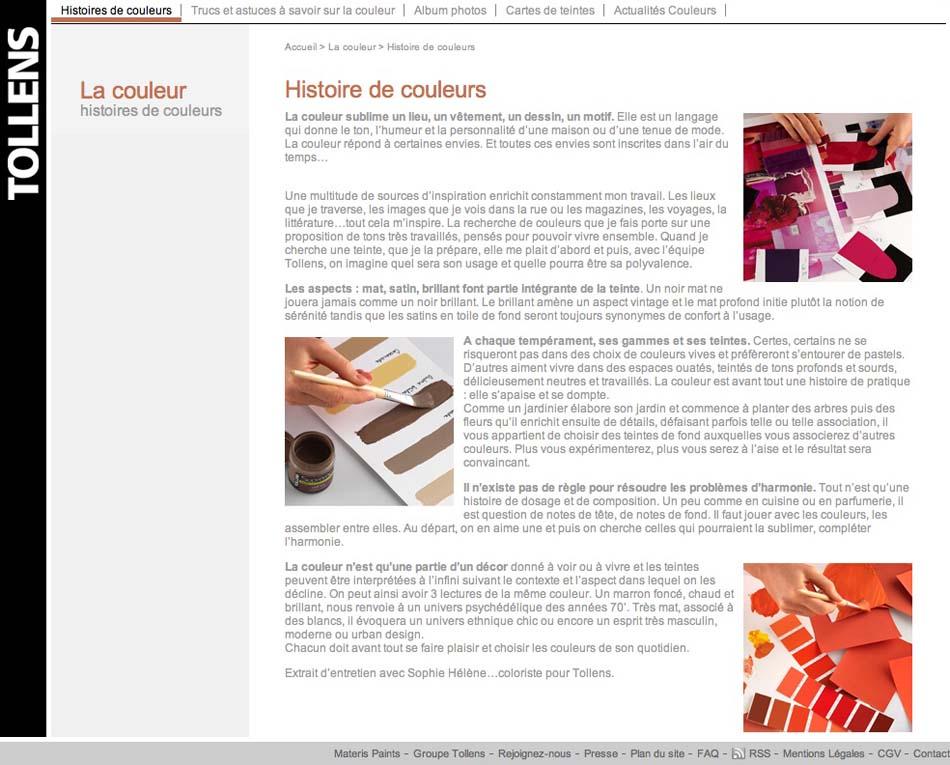 Site internet Tollens - Histoire de couleurs
