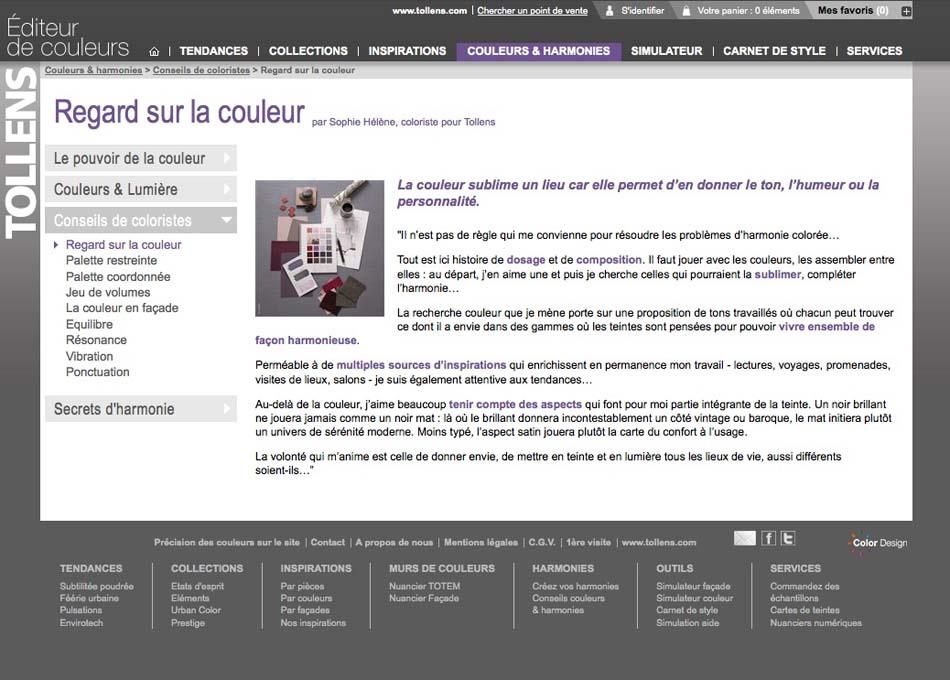 Site internet Tollens éditeur de couleurs - Regard sur la couleur
